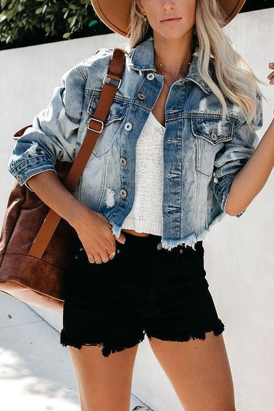 Ripped Button Crop Denim Coat - girlyrose.com