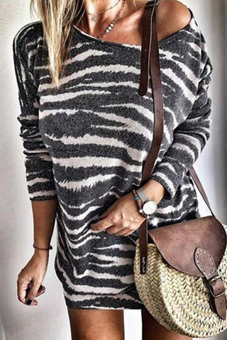 Zebra Stripe Long Sleeve Mini Dress - girlyrose.com