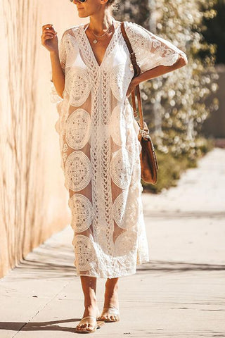 V Neck Lace Half Sleeve Long Cover Dress - girlyrose.com