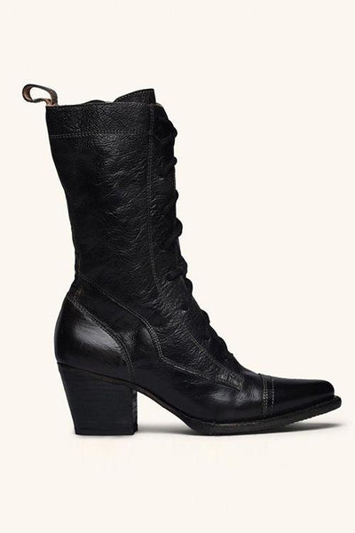 Viantage Leather Lace Up Chunky Heel Boots - girlyrose.com