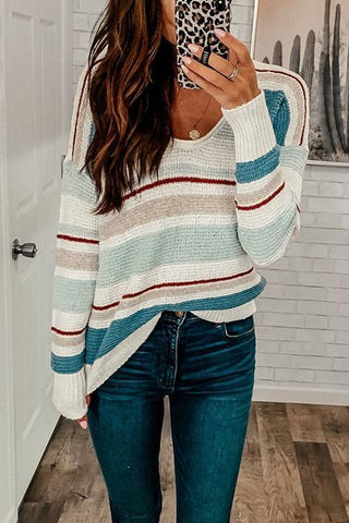 Stripe O Neck Sweater - girlyrose.com