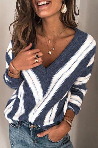Color Block V Neck Sweater - girlyrose.com