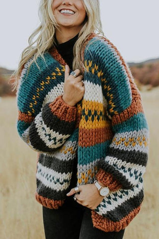 Colorful Stripe Loose Cardigan - girlyrose.com