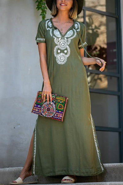 Embroidery Short Sleeve Cover Dress - girlyrose.com