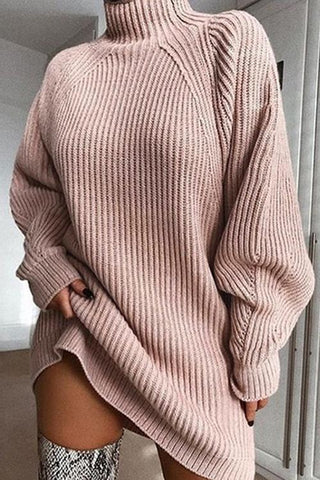 High Collar Puff Sleeve Mini Sweater Dress - girlyrose.com
