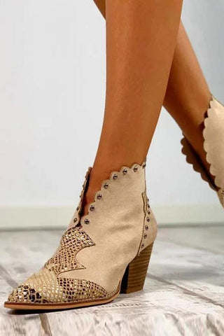 Beads Snake Slip On Boots - girlyrose.com