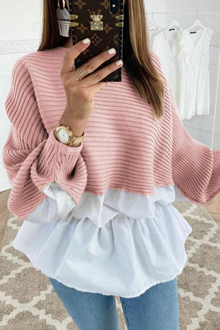 Ruffles Patchwork Long Sleeve T Shirt - girlyrose.com