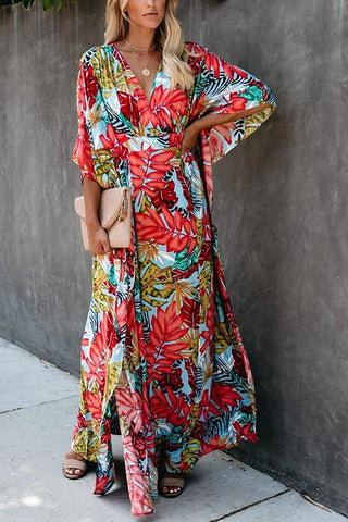 Floral Print V Neck Maxi Dress - girlyrose.com