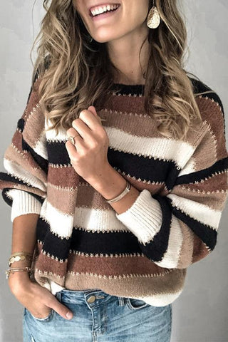 Colorful Stripe Long Sleeve Sweater - girlyrose.com