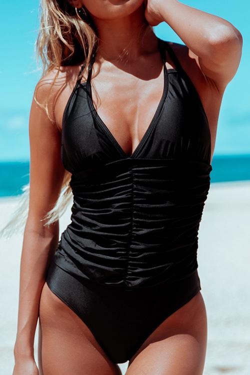 Halter Neck One Piece Swimwear - girlyrose.com