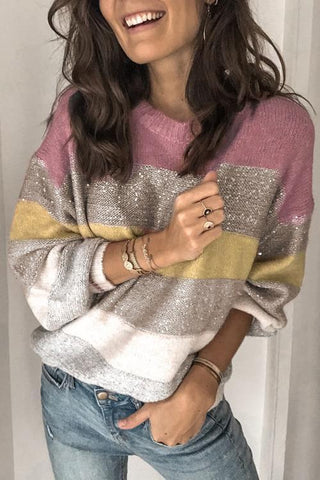 Sparkle Stripe O Neck Sweater - girlyrose.com