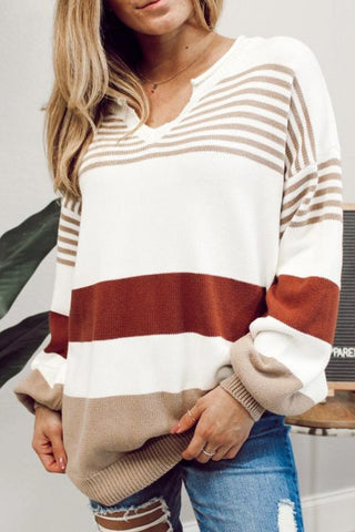 Stripe V Neck Loose Sweater - girlyrose.com