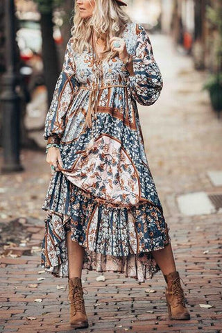 Bohemia Print Long Sleeve Maxi Dress - girlyrose.com