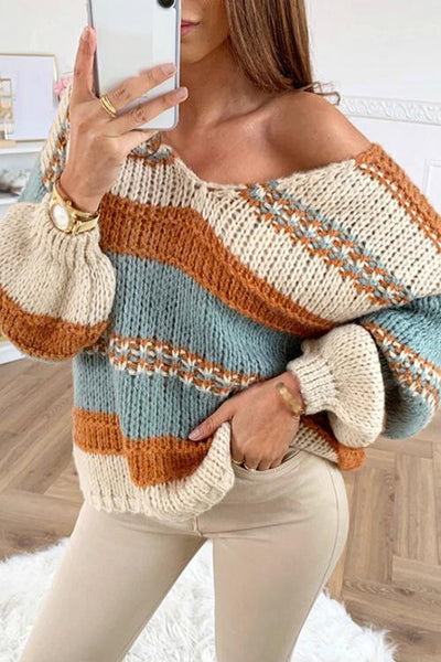 Stripe V Neck Puff Sleeve Sweater - girlyrose.com