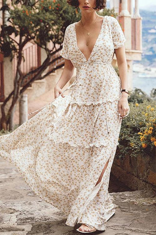 Floral Print Side Slit Maxi Dress - girlyrose.com