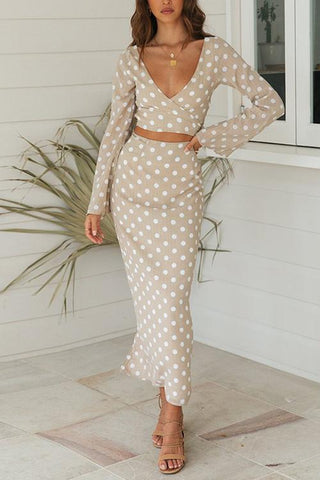 Dot Print Wrap Skirts Set - girlyrose.com