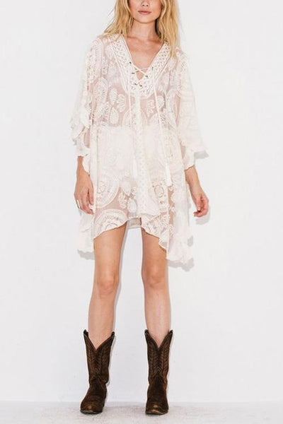 Lace Up Loose Mini Cover Dress - girlyrose.com