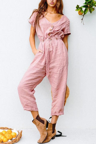 Button V Neck Short Sleeve Jumpsuit - girlyrose.com