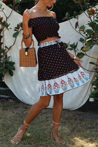 Bohemia Print Skirt Set - girlyrose.com