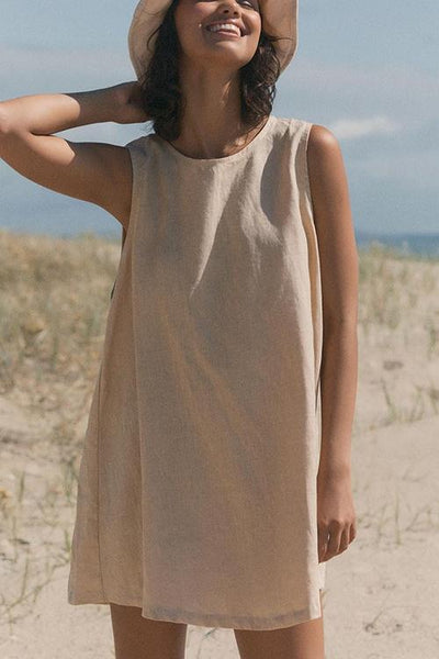 Linen O Neck Sleeveless Mini Dress - girlyrose.com