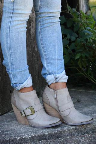Buckle Wedgies Ankle Boots - girlyrose.com