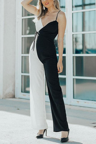 Contrast Color Slip Jumpsuit - girlyrose.com