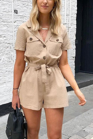 Button Pockets Belted Romper - girlyrose.com