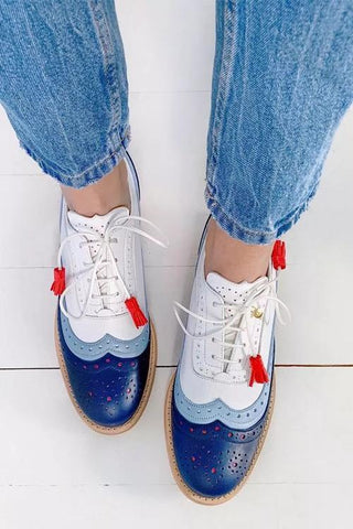 Color Block Laser Cut Lace-Up Sneaker - girlyrose.com