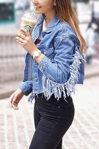 Tassels Denim Jackets - girlyrose.com