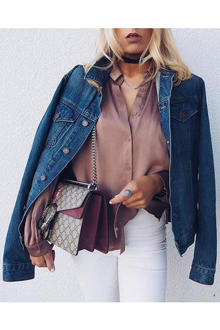 Button Lapel Denim Coat - girlyrose.com