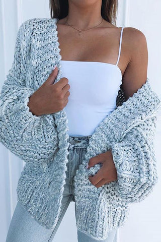 Puff Sleeve Loose Cardigan - girlyrose.com
