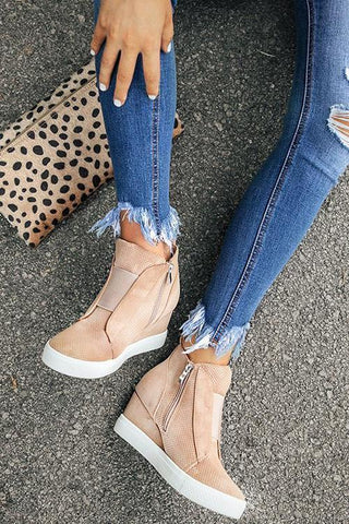 Side Zipper Sneakers Wedges - girlyrose.com