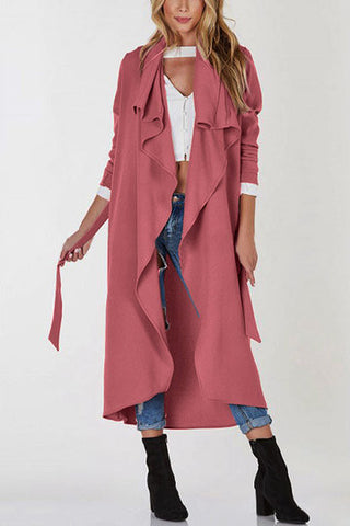 Lightweight Open Front Buttonless Longline Trench Coat - girlyrose.com