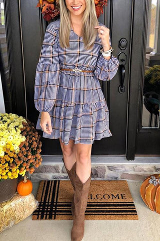 Plaid V Neck Ruffles Long Sleeve Mini Dress