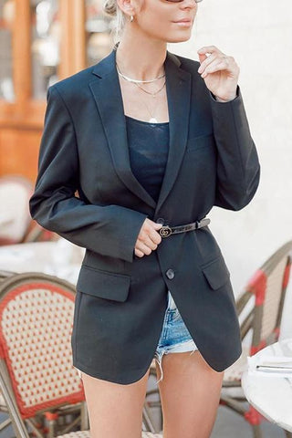 Button Lapel Black Blazer - girlyrose.com
