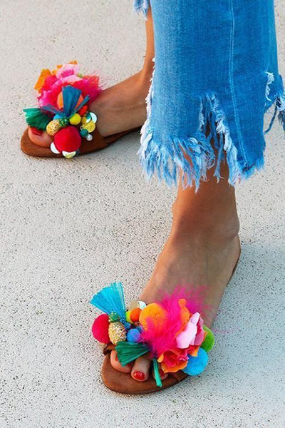 Fruits Pom Poms Slipper - girlyrose.com