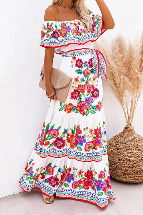 Gradient Off Shoulder Belted Maxi Dress - girlyrose.com