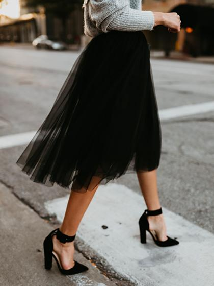 2020 New Bradshaw Tulle Midi Black Skirt - girlyrose.com