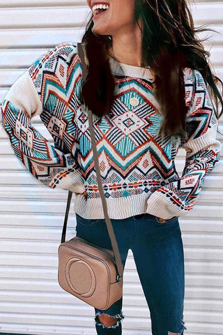 Geometric Print Loose Sweater - girlyrose.com