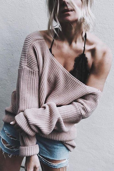 Simple Deep V Neck Sweater - girlyrose.com