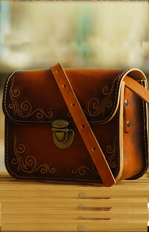 Vegetable Tanned Carving Handmade Leather Satchel - girlyrose.com
