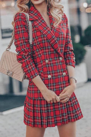 Double Breasted Plaid Blazer Plated Skirts Set - girlyrose.com