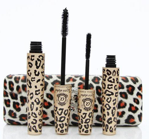 Black Mascara with Natural Fibres In Furry Leopard Display Case - girlyrose.com