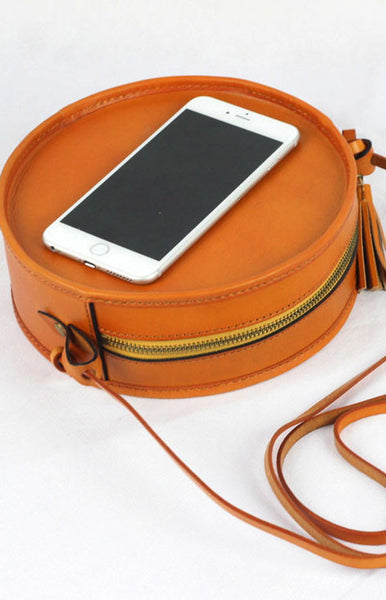 Handmade Leather bag round for women leather shoulder bag crossbody bag