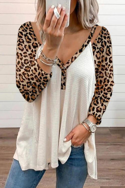 Leopard Patchwork Long Sleeve T Shirt - girlyrose.com