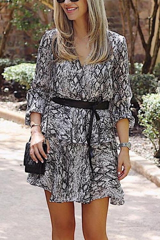 Snake Print Long Sleeve Mini Dress - girlyrose.com