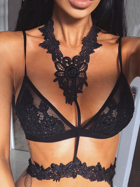 Sexy Lace Applique Lingerie Bra