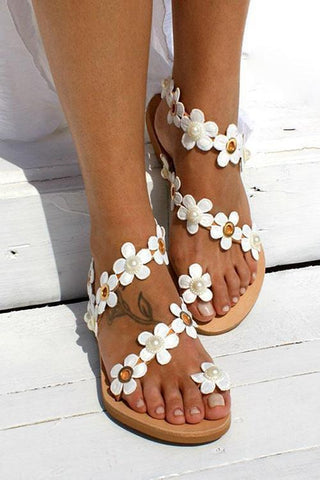 Flower Slip On Flat Sandals - girlyrose.com