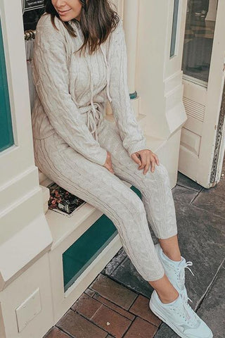 Solid Color Hooded Collar Knitted Pants Set - girlyrose.com