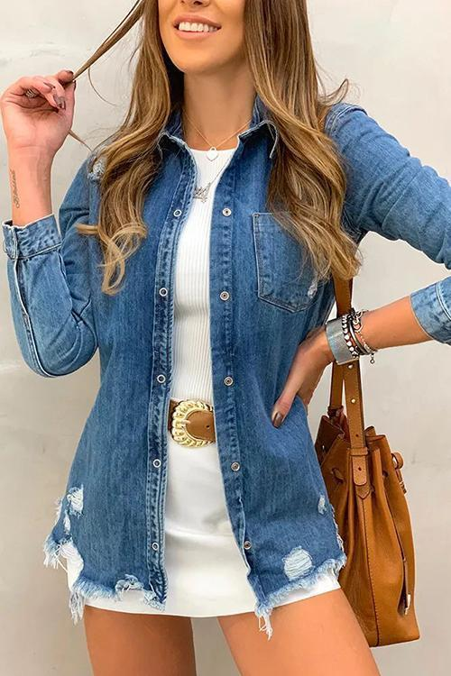 Ripped Denim Coat - girlyrose.com